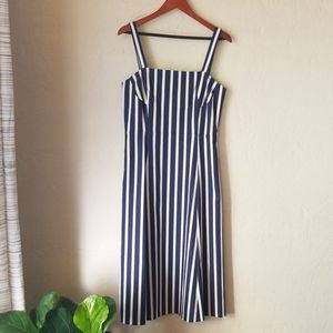 Blue and white striped sundress